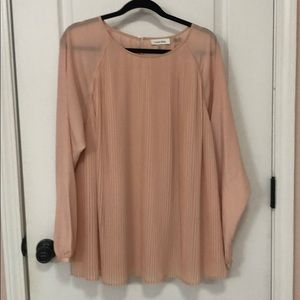 Pink/tan Calvin Klein 1x long sleeve blouse